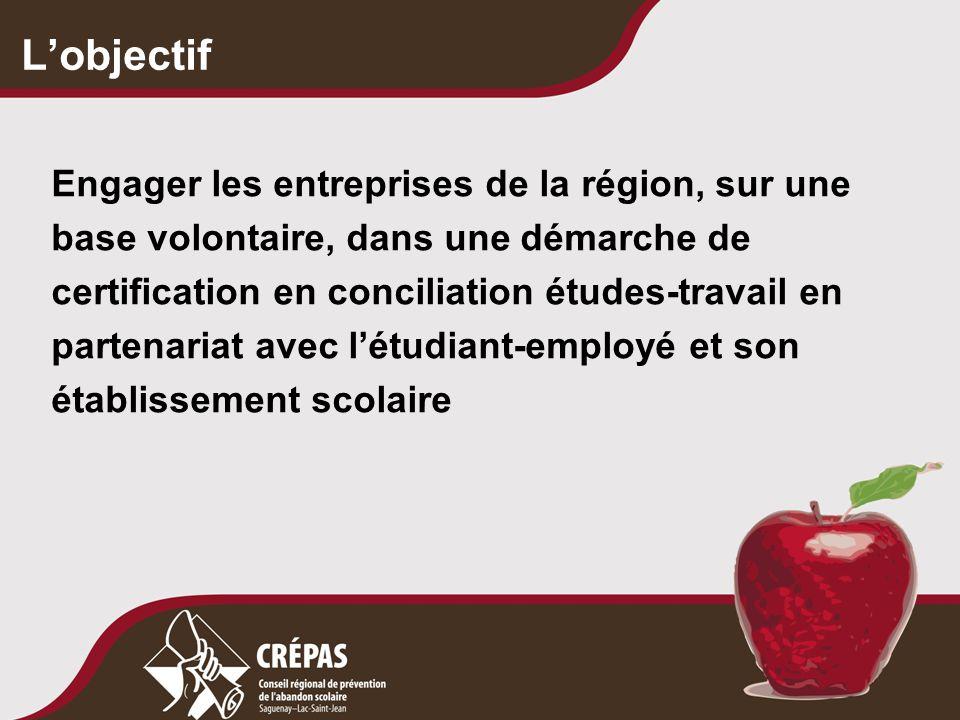 L'objectif Engager les entreprises de la région, sur une base volontaire, dans une démarche de certification en conciliation études-travail en partenariat avec l'étudiant-employé et son établissement scolaire