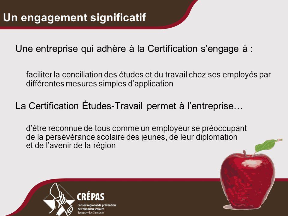 Un engagement significatif Une entreprise qui adhère à la Certification s'engage à : faciliter la conciliation des études et du travail chez ses emplo