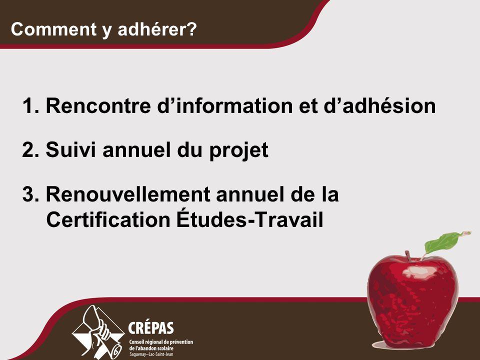 Comment y adhérer? 1. Rencontre d'information et d'adhésion 2. Suivi annuel du projet 3. Renouvellement annuel de la Certification Études-Travail