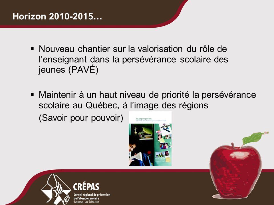  Nouveau chantier sur la valorisation du rôle de l'enseignant dans la persévérance scolaire des jeunes (PAVÉ)  Maintenir à un haut niveau de priorit
