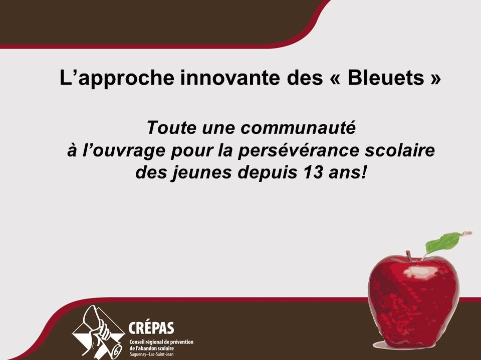 L'approche innovante des « Bleuets » Toute une communauté à l'ouvrage pour la persévérance scolaire des jeunes depuis 13 ans!
