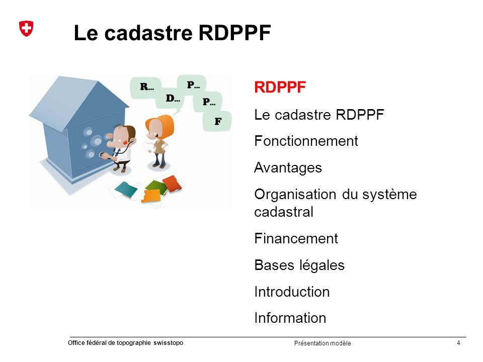 45 Office fédéral de topographie swisstopo Présentation modèle Brochure grand public cadastre RDPPF