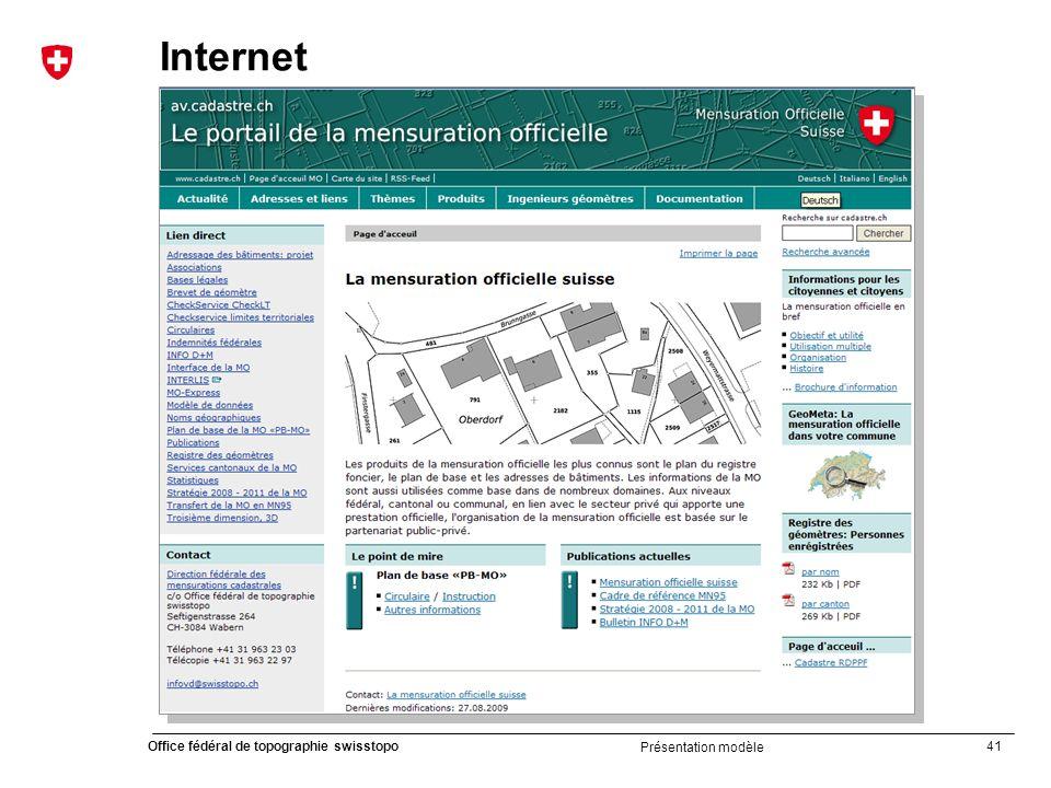 41 Office fédéral de topographie swisstopo Présentation modèle Internet