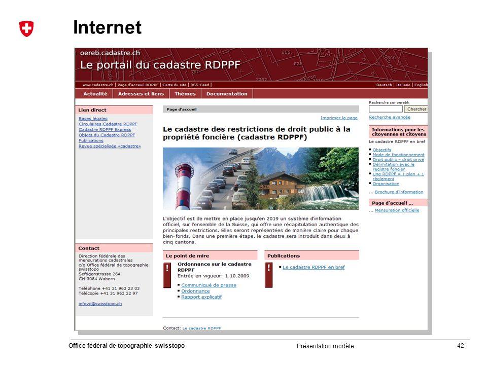 42 Office fédéral de topographie swisstopo Présentation modèle Internet