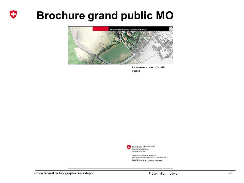 44 Office fédéral de topographie swisstopo Présentation modèle Brochure grand public MO