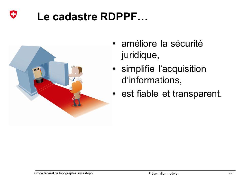 47 Office fédéral de topographie swisstopo Présentation modèle Le cadastre RDPPF… améliore la sécurité juridique, simplifie l'acquisition d'informations, est fiable et transparent.