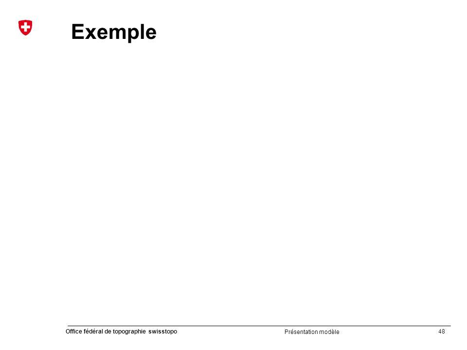 48 Office fédéral de topographie swisstopo Présentation modèle Exemple
