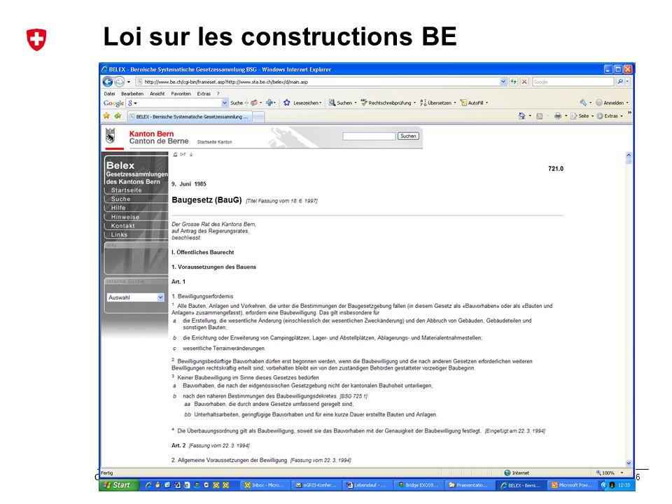 56 Office fédéral de topographie swisstopo Présentation modèle Loi sur les constructions BE