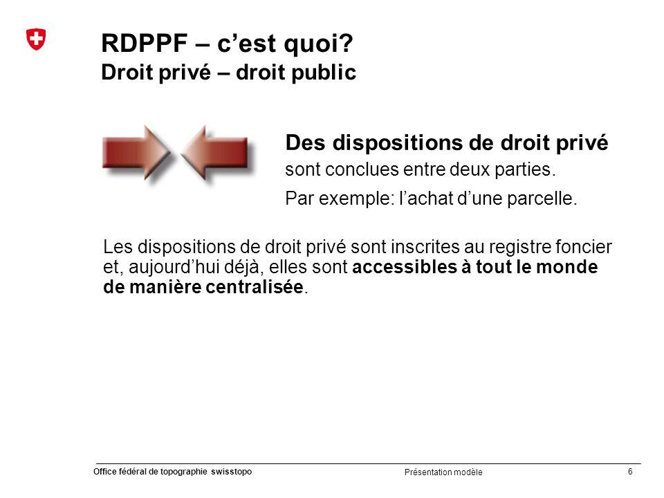 37 Office fédéral de topographie swisstopo Présentation modèle Introduction du cadastre RDPPF Calendrier