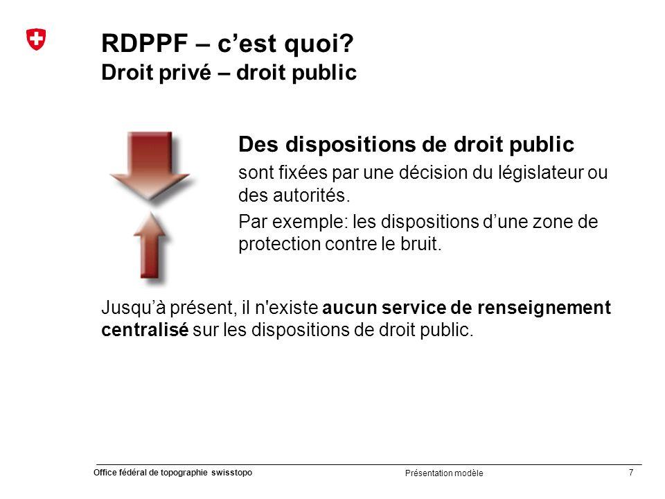 38 Office fédéral de topographie swisstopo Présentation modèle Introduction du cadastre RDPPF 20082009201020112012201320142015201620172018201920202021 OCRDP en vigueur Evaluation selon LGéo Loi cad.