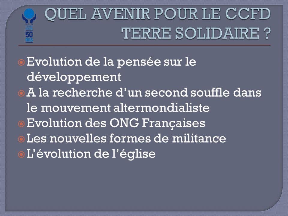  Evolution de la pensée sur le développement  A la recherche d'un second souffle dans le mouvement altermondialiste  Evolution des ONG Françaises  Les nouvelles formes de militance  L'évolution de l'église