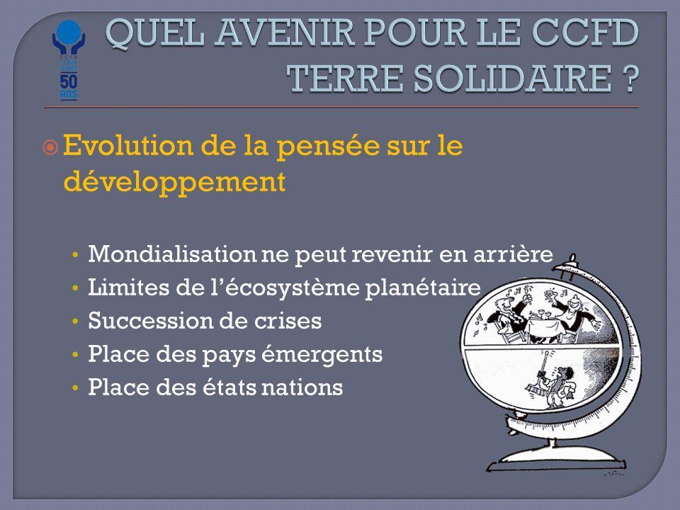  Evolution de la pensée sur le développement Mondialisation ne peut revenir en arrière Limites de l'écosystème planétaire Succession de crises Place des pays émergents Place des états nations