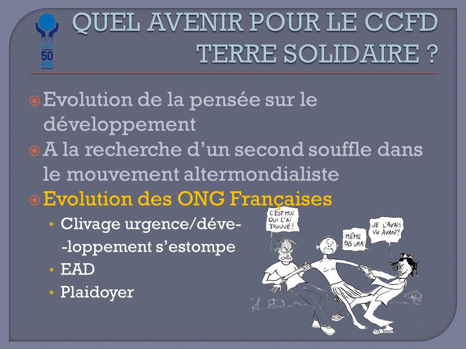  Evolution de la pensée sur le développement  A la recherche d'un second souffle dans le mouvement altermondialiste  Evolution des ONG Françaises Clivage urgence/déve- -loppement s'estompe EAD Plaidoyer