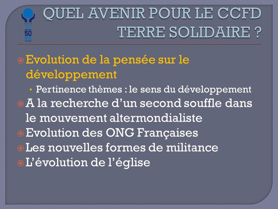  Evolution de la pensée sur le développement Pertinence thèmes : le sens du développement  A la recherche d'un second souffle dans le mouvement altermondialiste  Evolution des ONG Françaises  Les nouvelles formes de militance  L'évolution de l'église