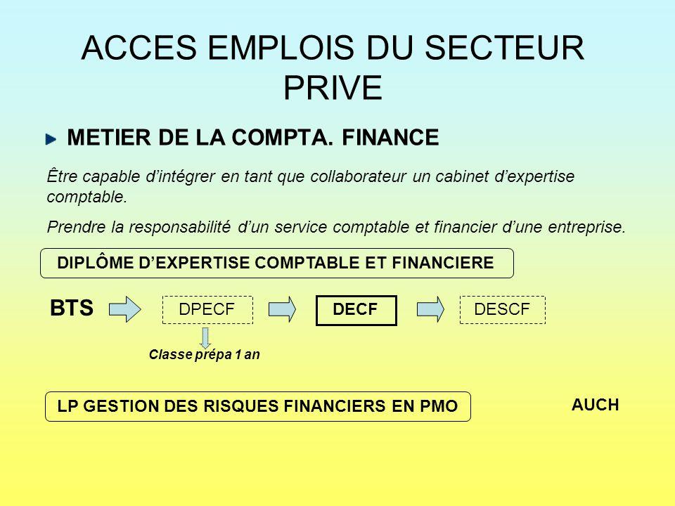 ACCES EMPLOIS DU SECTEUR PRIVE METIER DE LA COMPTA. FINANCE BTS Être capable d'intégrer en tant que collaborateur un cabinet d'expertise comptable. Pr