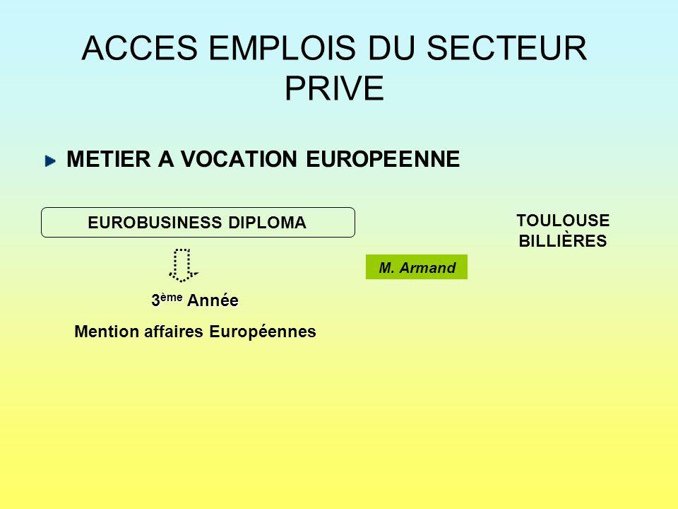 ACCES EMPLOIS DU SECTEUR PRIVE METIER A VOCATION EUROPEENNE EUROBUSINESS DIPLOMA TOULOUSE BILLIÈRES 3 ème Année Mention affaires Européennes M. Armand