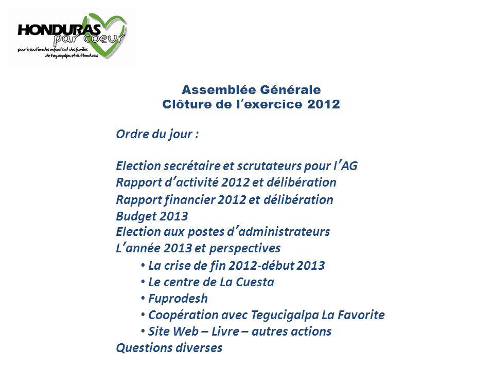 Assemblée Générale Clôture de l'exercice 2012 Ordre du jour : Election secrétaire et scrutateurs pour l'AG Rapport d'activité 2012 et délibération Rap
