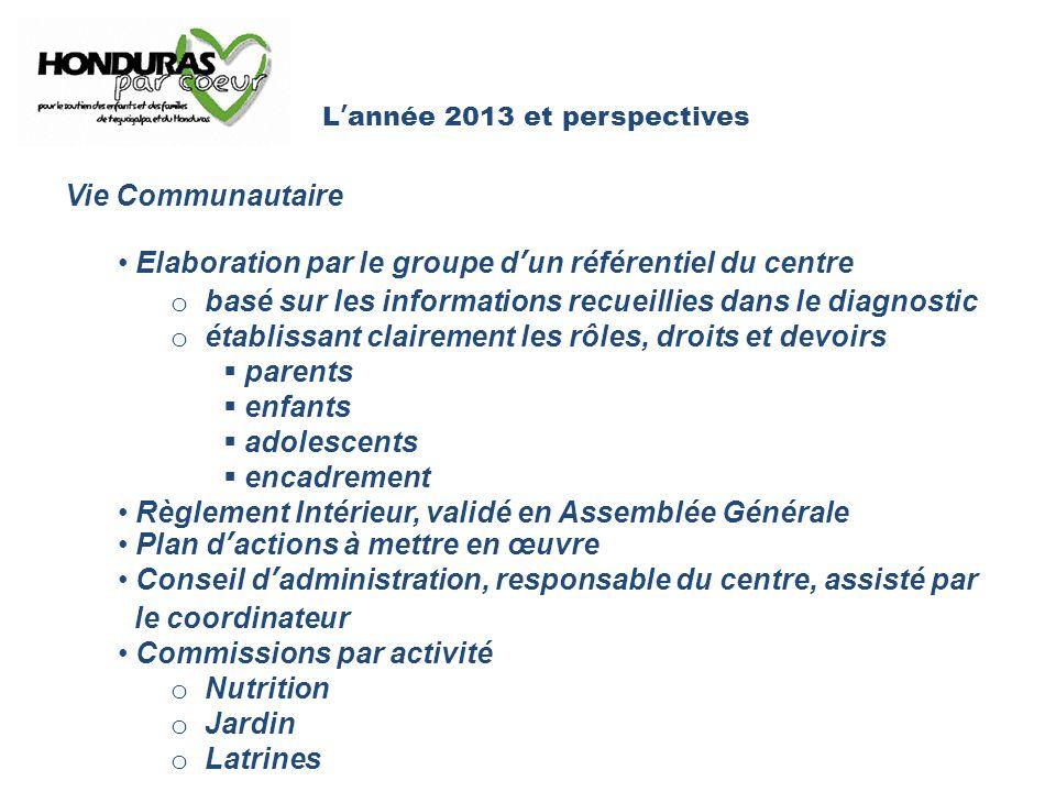 L'année 2013 et perspectives Vie Communautaire Elaboration par le groupe d'un référentiel du centre o basé sur les informations recueillies dans le di