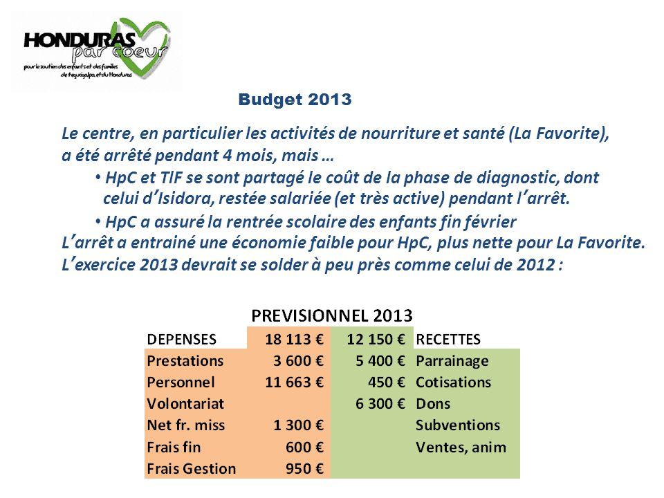 Budget 2013 Le centre, en particulier les activités de nourriture et santé (La Favorite), a été arrêté pendant 4 mois, mais … HpC et TlF se sont partagé le coût de la phase de diagnostic, dont celui d'Isidora, restée salariée (et très active) pendant l'arrêt.