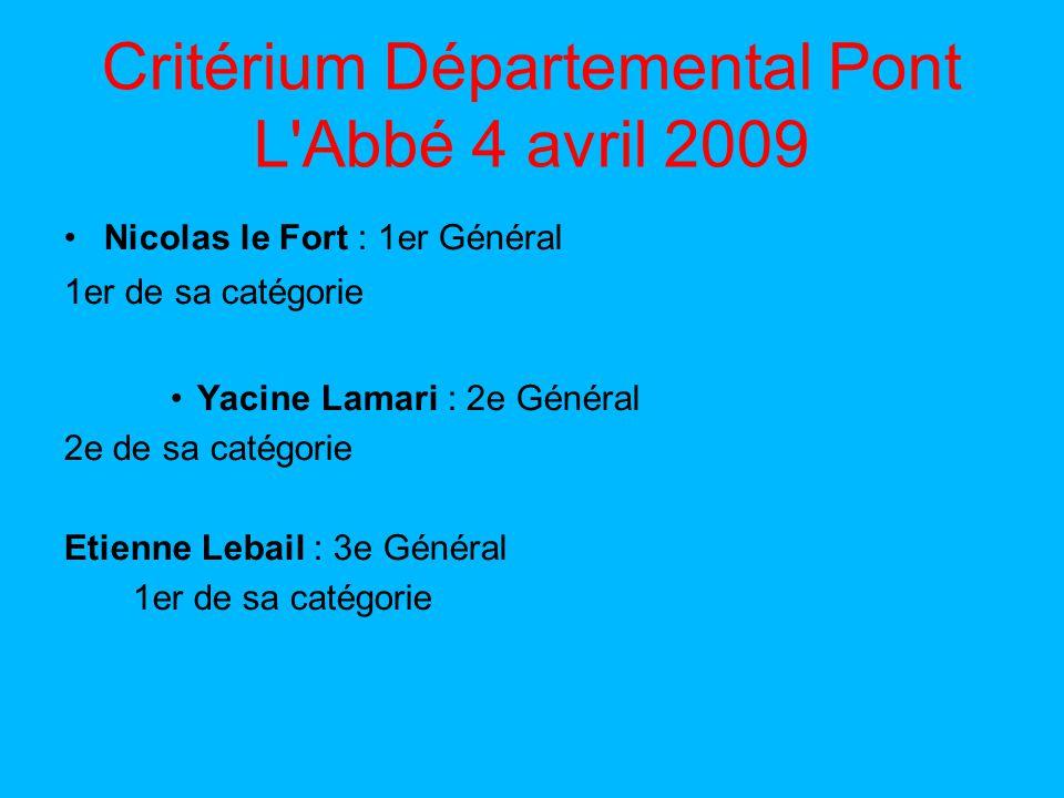 Critérium Départemental Pont L Abbé 4 avril 2009 Nicolas le Fort : 1er Général 1er de sa catégorie Yacine Lamari : 2e Général 2e de sa catégorie Etienne Lebail : 3e Général 1er de sa catégorie