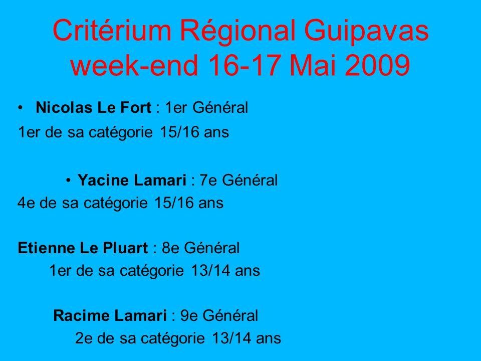 Critérium Régional Guipavas week-end 16-17 Mai 2009 Nicolas Le Fort : 1er Général 1er de sa catégorie 15/16 ans Yacine Lamari : 7e Général 4e de sa catégorie 15/16 ans Etienne Le Pluart : 8e Général 1er de sa catégorie 13/14 ans Racime Lamari : 9e Général 2e de sa catégorie 13/14 ans