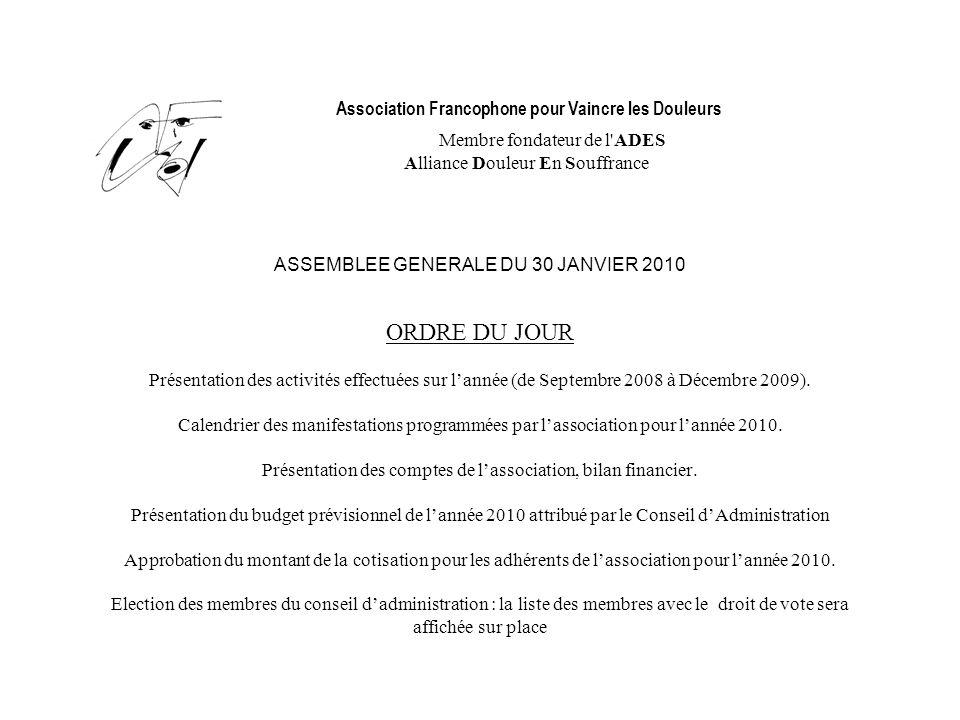 Association Francophone pour Vaincre les Douleurs Membre fondateur de l'ADES Alliance Douleur En Souffrance ASSEMBLEE GENERALE DU 30 JANVIER 2010 ORDR