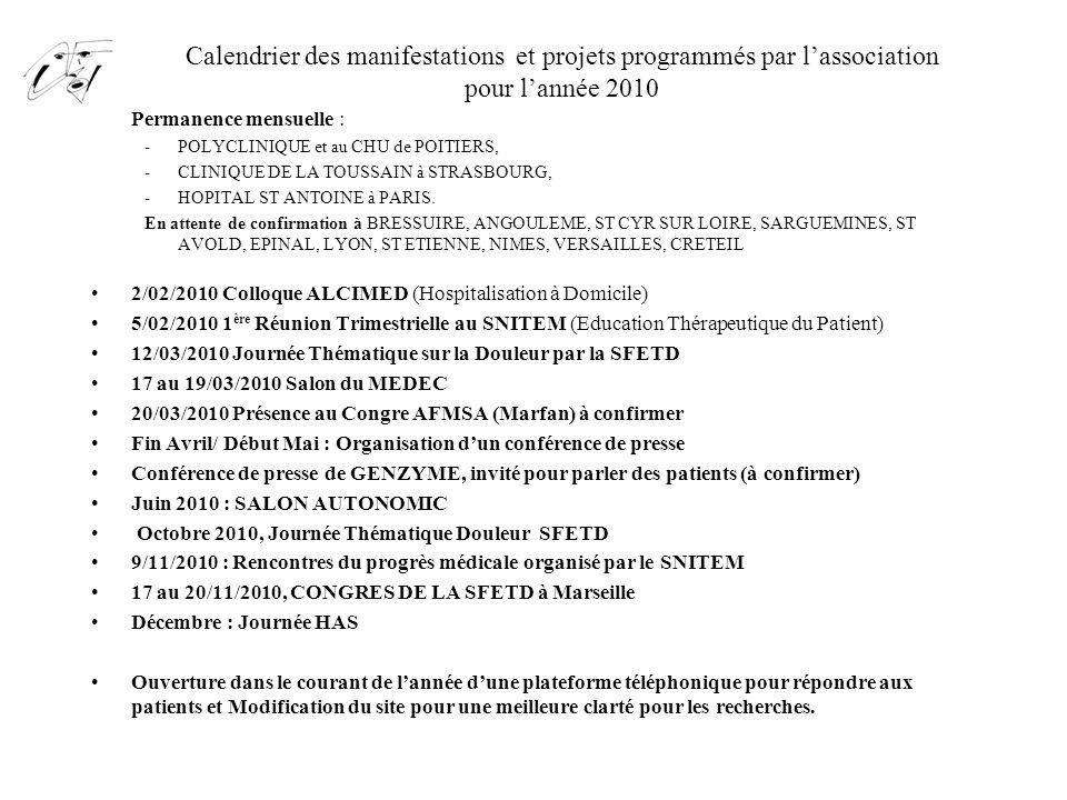 Calendrier des manifestations et projets programmés par l'association pour l'année 2010 -Permanence mensuelle : -POLYCLINIQUE et au CHU de POITIERS, -