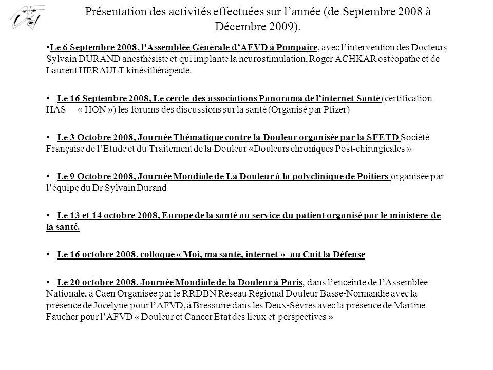 Présentation des activités effectuées sur l'année (de Septembre 2008 à Décembre 2009). Le 6 Septembre 2008, l'Assemblée Générale d'AFVD à Pompaire, av