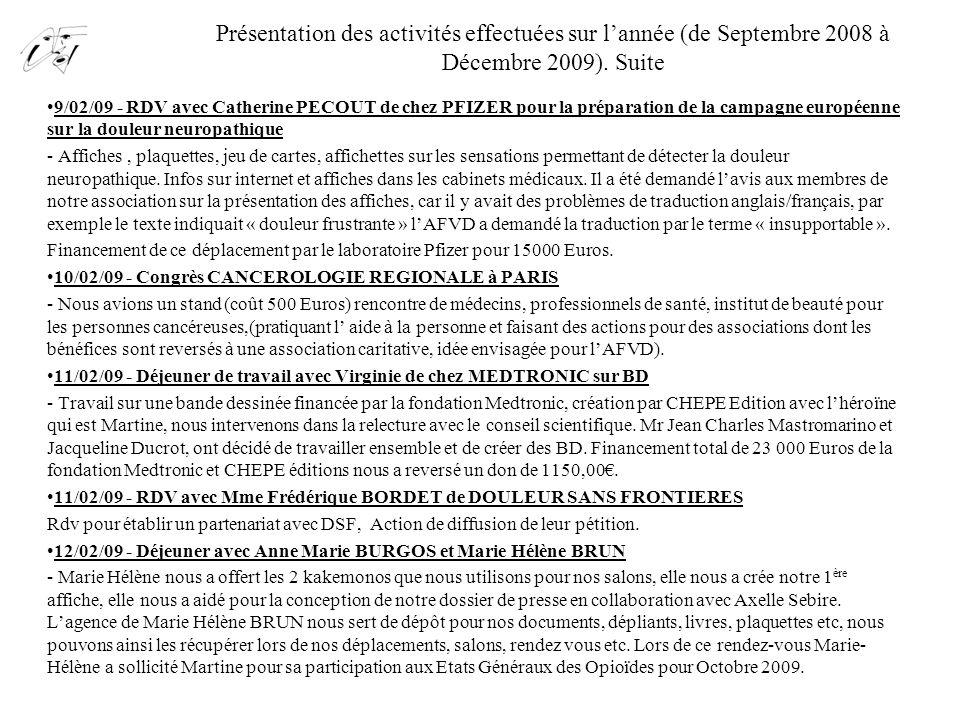 Présentation des activités effectuées sur l'année (de Septembre 2008 à Décembre 2009). Suite 9/02/09 - RDV avec Catherine PECOUT de chez PFIZER pour l