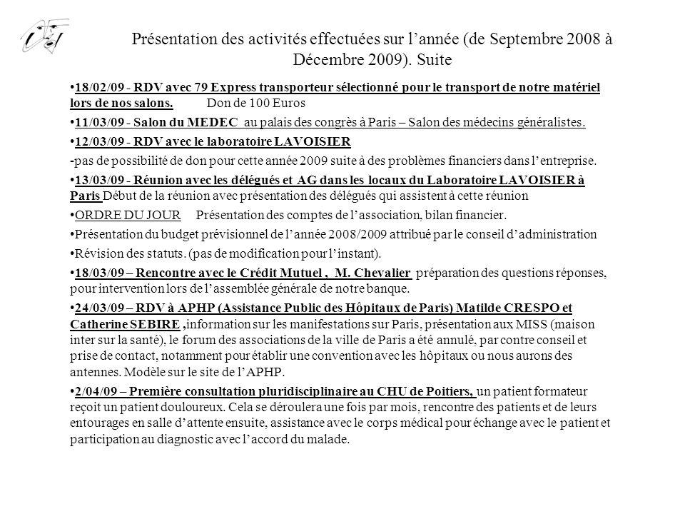 Présentation des activités effectuées sur l'année (de Septembre 2008 à Décembre 2009). Suite 18/02/09 - RDV avec 79 Express transporteur sélectionné p