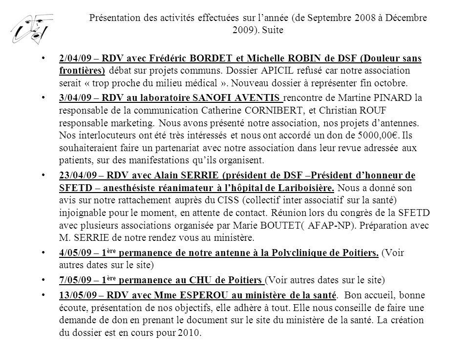 Présentation des activités effectuées sur l'année (de Septembre 2008 à Décembre 2009). Suite 2/04/09 – RDV avec Frédéric BORDET et Michelle ROBIN de D