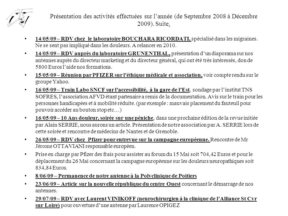 Présentation des activités effectuées sur l'année (de Septembre 2008 à Décembre 2009). Suite. 14/05/09 – RDV chez le laboratoire BOUCHARA RICORDATI, s