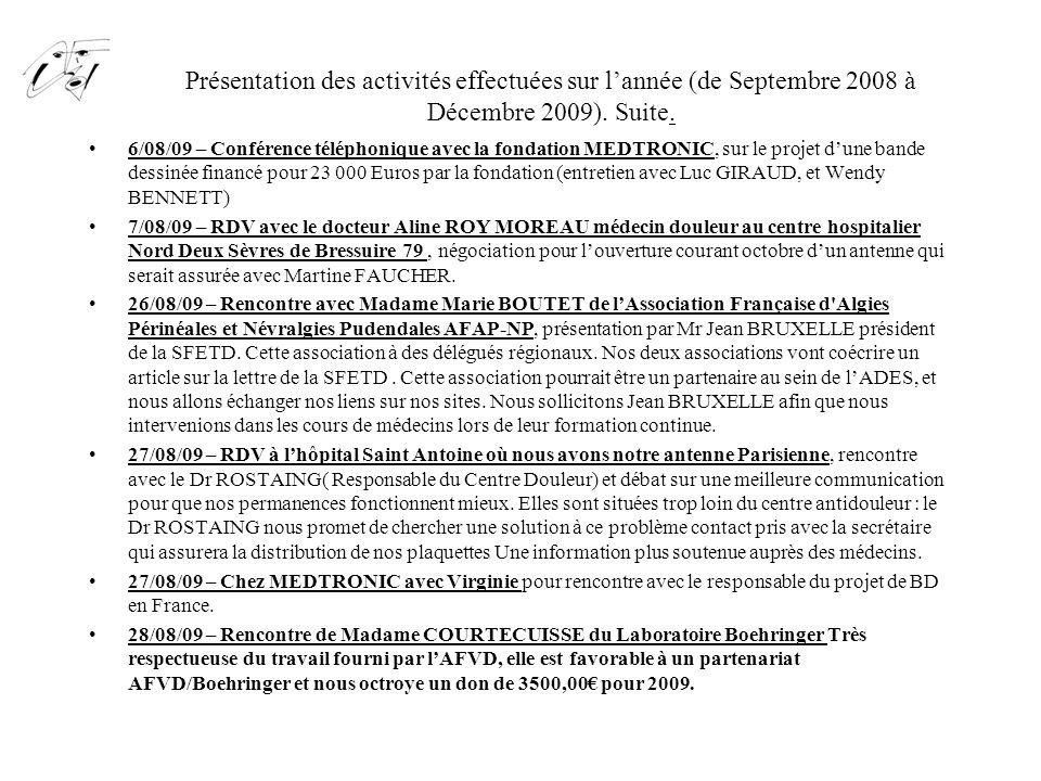 Présentation des activités effectuées sur l'année (de Septembre 2008 à Décembre 2009). Suite. 6/08/09 – Conférence téléphonique avec la fondation MEDT