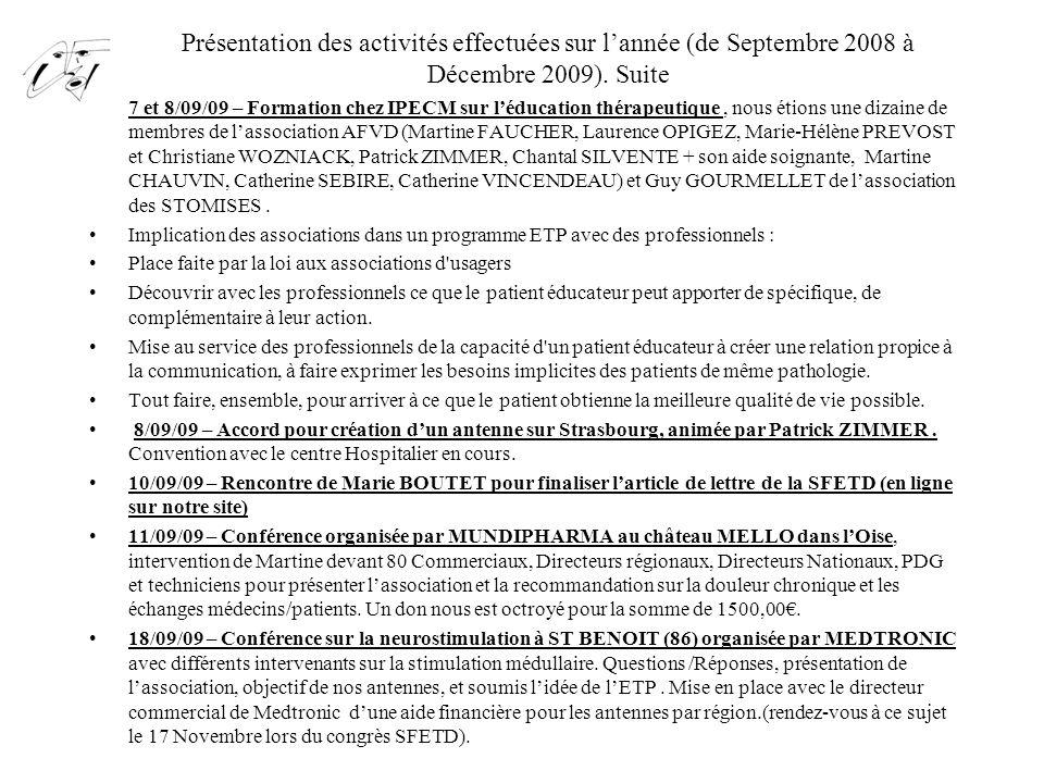 Présentation des activités effectuées sur l'année (de Septembre 2008 à Décembre 2009). Suite 7 et 8/09/09 – Formation chez IPECM sur l'éducation théra