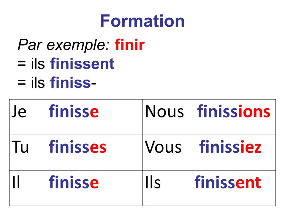 Je finisseNous finissions Tu finissesVous finissiez Il finisseIls finissent Formation Par exemple: finir = ils finissent = ils finiss-