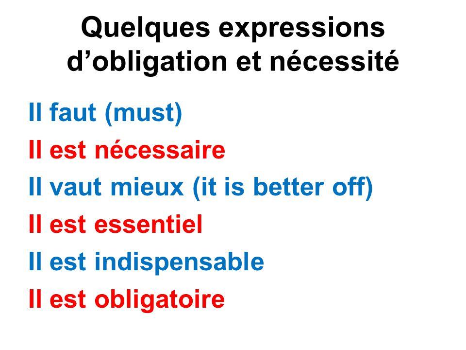 Quelques expressions d'obligation et nécessité Il faut (must) Il est nécessaire Il vaut mieux (it is better off) Il est essentiel Il est indispensable