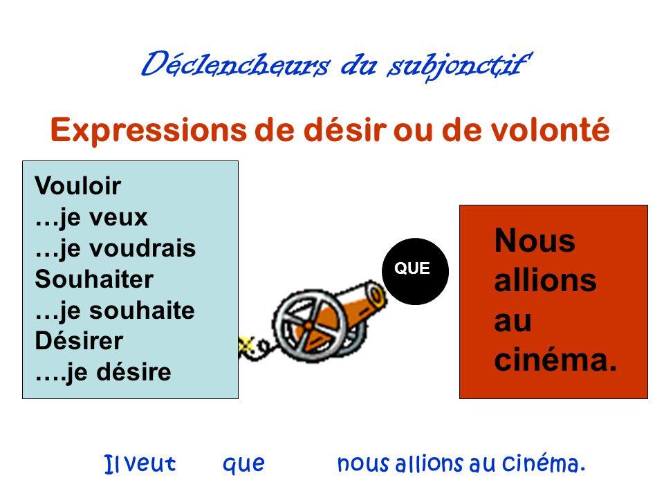 Déclencheurs du subjonctif Expressions de désir ou de volonté QUE Nous allions au cinéma. Vouloir …je veux …je voudrais Souhaiter …je souhaite Désirer