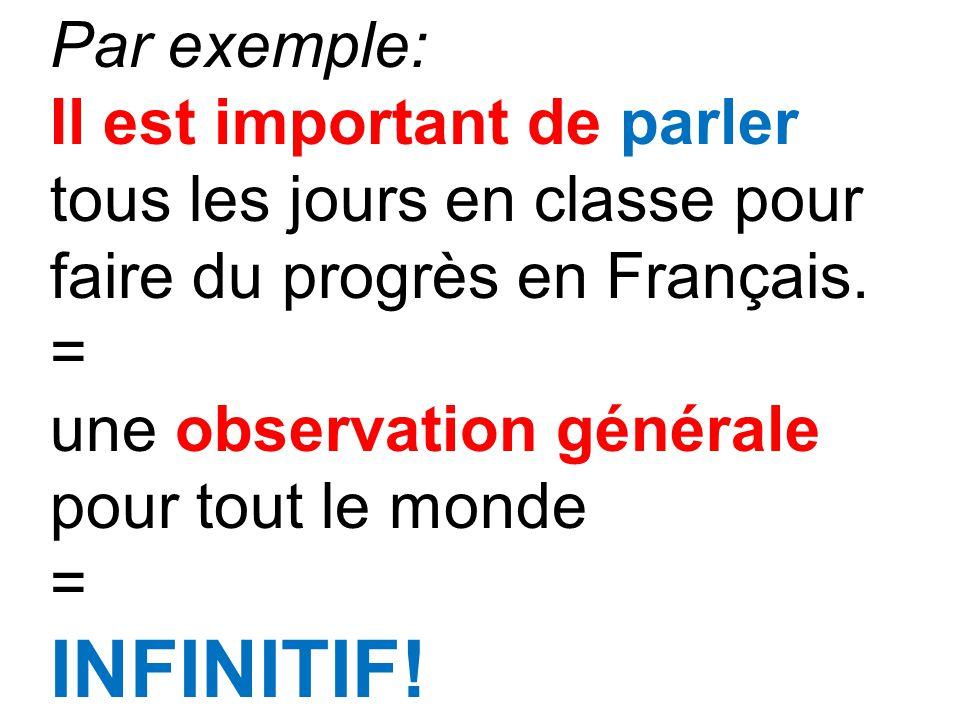 Par exemple: Il est important de parler tous les jours en classe pour faire du progrès en Français. = une observation générale pour tout le monde = IN