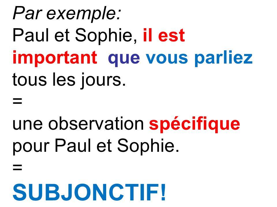 Par exemple: Paul et Sophie, il est important que vous parliez tous les jours. = une observation spécifique pour Paul et Sophie. = SUBJONCTIF!