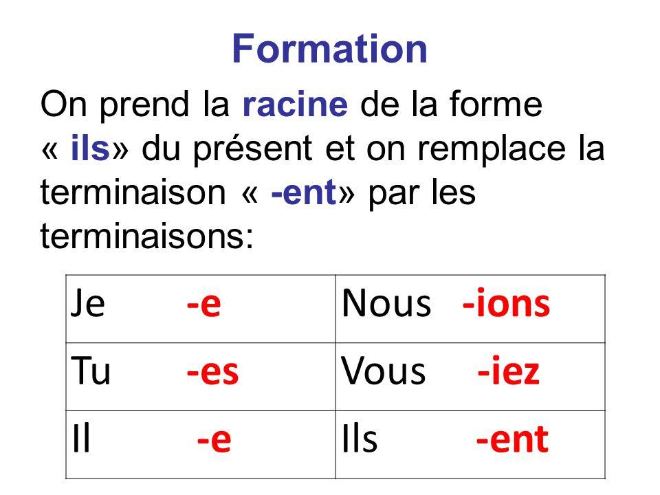Je -eNous -ions Tu -esVous -iez Il -eIls -ent Formation On prend la racine de la forme « ils» du présent et on remplace la terminaison « -ent» par les