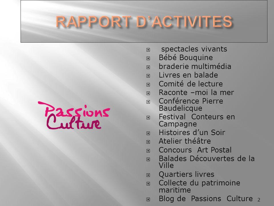  spectacles vivants  Bébé Bouquine  braderie multimédia  Livres en balade  Comité de lecture  Raconte –moi la mer  Conférence Pierre Baudelicqu