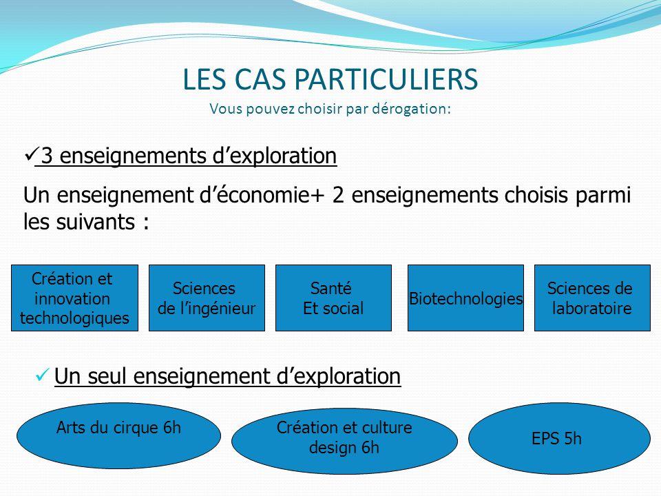 LES CAS PARTICULIERS Vous pouvez choisir par dérogation: Un seul enseignement d'exploration Création et innovation technologiques Santé Et social Scie