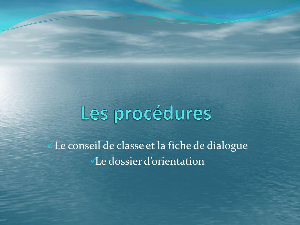 Le conseil de classe et la fiche de dialogue Le dossier d'orientation