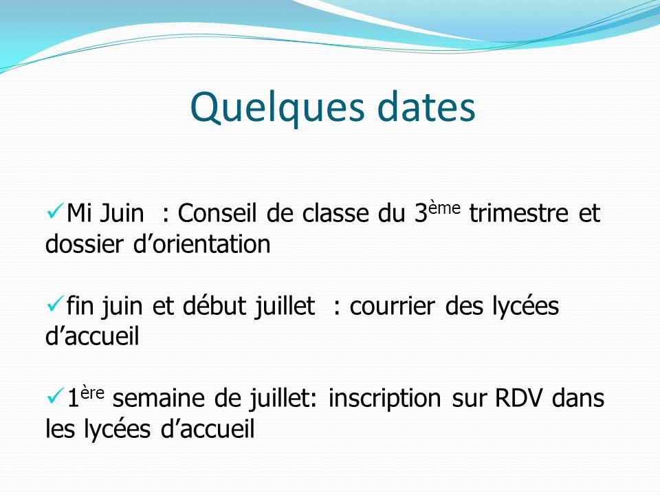 Quelques dates Mi Juin : Conseil de classe du 3 ème trimestre et dossier d'orientation fin juin et début juillet : courrier des lycées d'accueil 1 ère