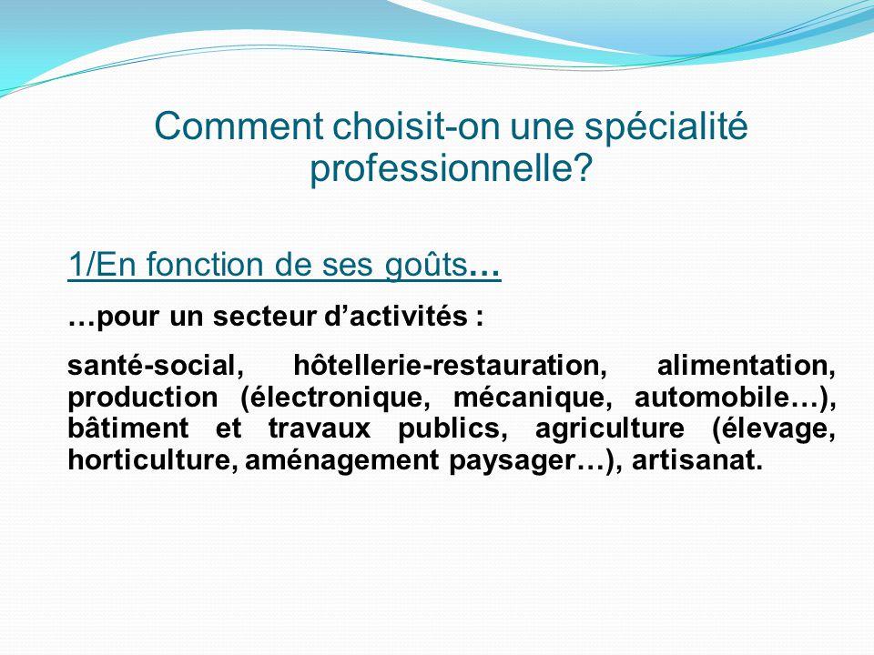 Comment choisit-on une spécialité professionnelle? 1/En fonction de ses goûts… …pour un secteur d'activités : santé-social, hôtellerie-restauration, a