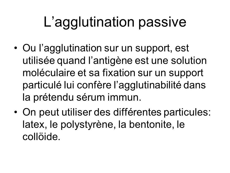 L'agglutination passive Ou l'agglutination sur un support, est utilisée quand l'antigène est une solution moléculaire et sa fixation sur un support pa