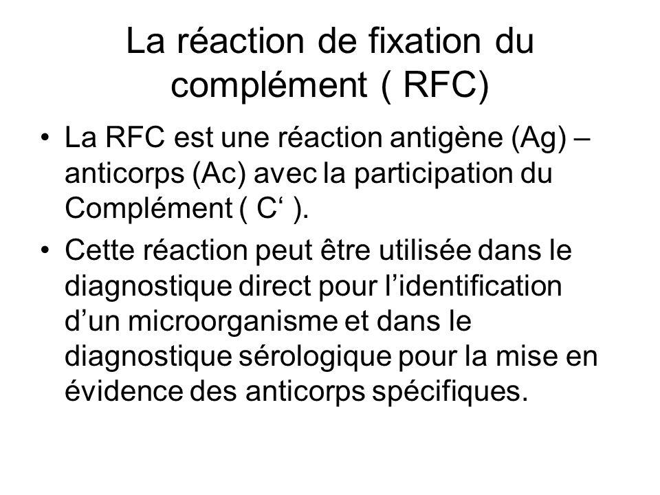 La réaction de fixation du complément ( RFC) La RFC est une réaction antigène (Ag) – anticorps (Ac) avec la participation du Complément ( C' ). Cette