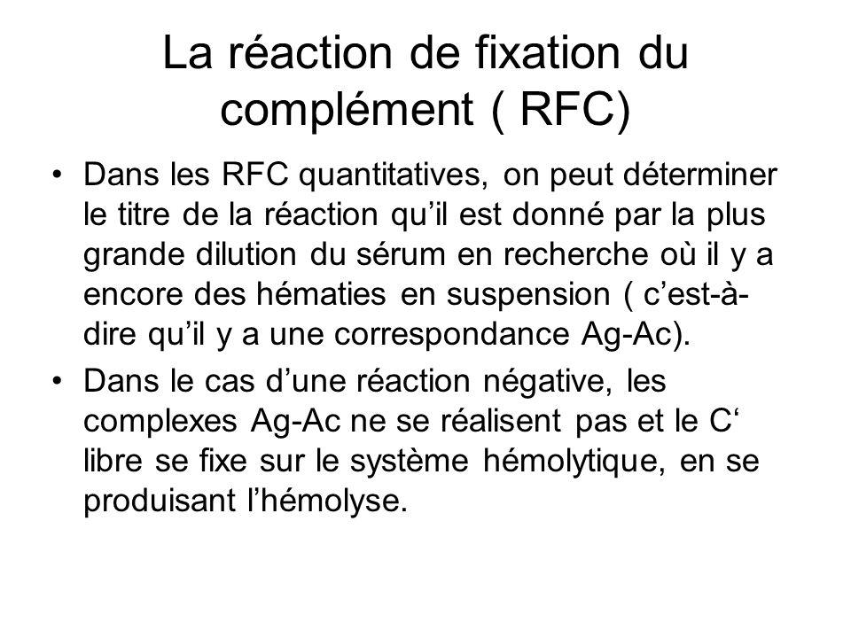 La réaction de fixation du complément ( RFC) Dans les RFC quantitatives, on peut déterminer le titre de la réaction qu'il est donné par la plus grande