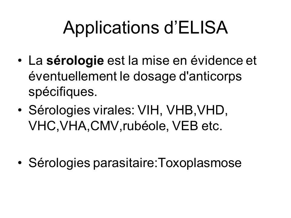 Applications d'ELISA La sérologie est la mise en évidence et éventuellement le dosage d'anticorps spécifiques. Sérologies virales: VIH, VHB,VHD, VHC,V