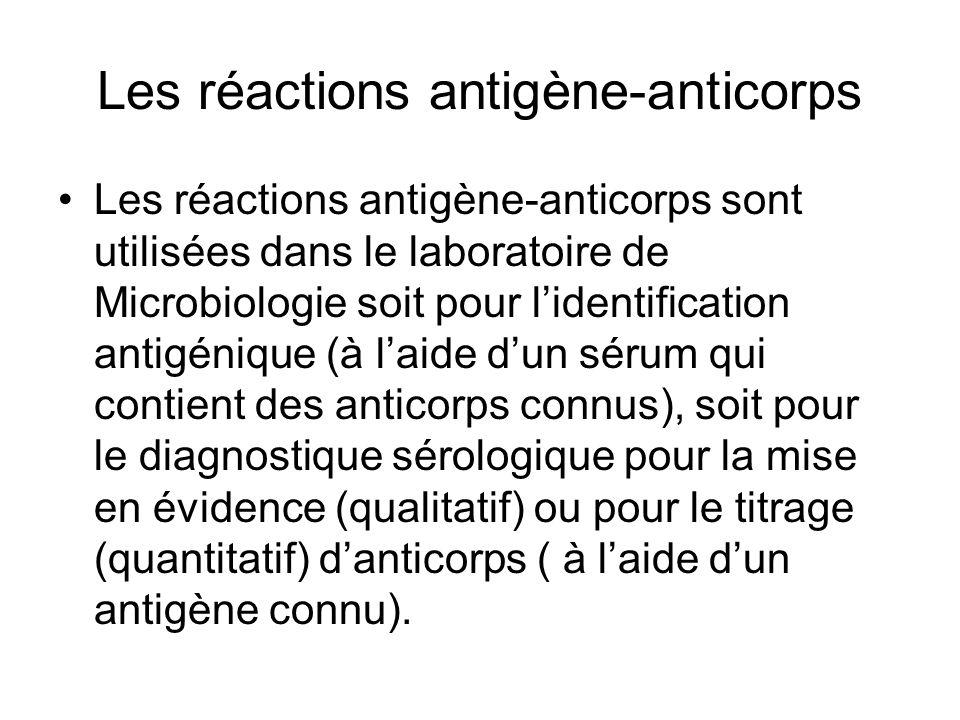 Les réactions antigène-anticorps Les réactions antigène-anticorps sont utilisées dans le laboratoire de Microbiologie soit pour l'identification antig